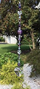 Handmade Purple Amethyst Stone Suncatcher/Prism W/Swarovski Elements USA