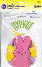 "Wilton Peeps Bunny & Chicks Shaped Party Treat Bags 6"" x 9"" 12 Bags *New"