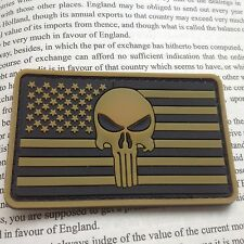 TAN PUNISHER SKULL USA FLAG OP RUBBER 3D MORALE TACTICAL PVC PATCH