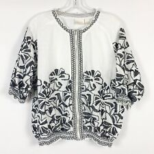 Chicos Size 2 L Large White Black Floral Embroidered Zip Up Jacket Boho