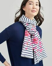 Joules Womens Flora Embroidered Cotton Scarf - Cream Floral - One Size