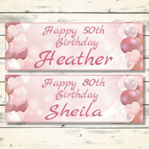 2 PERSONALISED ROSE GOLD BIRTHDAY BANNERS - DESIGN 3 PINK HEARTS (ANY NAME/AGE)