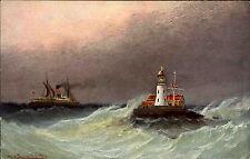 Leuchtturm Lighthouse Schiffe & Seefahrt ~1910 Schiff Dampfer Norwegen Norge