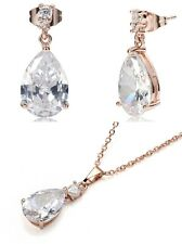 Tear Drop Rose Gold Plated Cubic Zirconia Drop Dangle Earrings & Necklace set