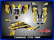 04-09 YAMAHA YFZ 450 ATV CUSOM GRAPHICS KIT PEGATINAS AJ YELLOW