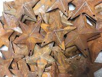 """DLCC~25 PCS 1.75"""" PRIMITIVE RUSTIC 3D STARS Rust tin Metal"""