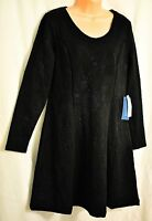 women's Simply Vera Wang black & blue long sleeve dress size large MSRP $64
