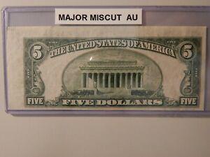 $5 1959A FRN MAJOR MISCUT AU ERROR W/SELVAGE