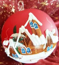 Christmas Tree Balls Handpainted Ornament Snow