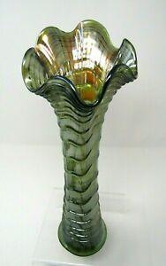 "Vintage Imperial Ripple Swung Vase Dark Olive Green Carnival Glass 13"""