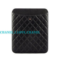 AUTHENTIC CHANEL BLACK QUILTED LEATHER CC CHARM IPAD COVER CASE