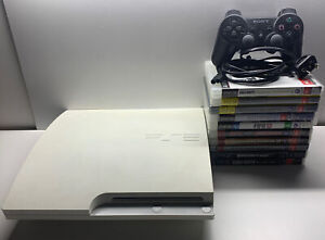 Sony PlayStation 3 320GB White Console Model CECH3002B 1 Controller + 10 Games