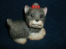 Homco 1475 Ceramic Yorkie With Red Top Knot Bow Statue Or Figurine