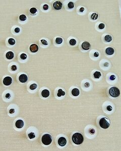 SALE Card of 42 Vintage Black Glass Buttons Beautiful Assortment Card #3