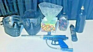 VL ORION BLUE/ Silver Paintball Gun 2 Masks 2 Barrels Tons Of Balls~ TESTED WORK