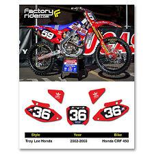 2002-2003 HONDA CRF 450 Dirt Bike Graphics Motocross Custom Number Plates TLD