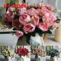 US Artificial Peony Silk Flowers Decor Garden Wedding Floral Home Bouquet Leaf