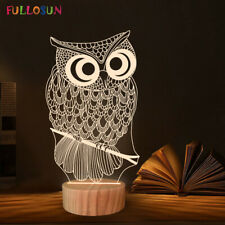 3D Illusion Lamp Owl Night Light Warm Color Home Decor Table Lamp for Kids Gifts