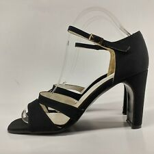 Paco Marchena Ladies Heels UK 6 Black Ankle Strap Sandal Made in Spain Fabric