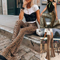 Fashion Women Bell Bottoms Leopard High Waist Wide Leg Pants Flare Long Trousers