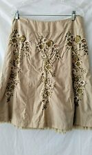 Talbots Beige Green Creme Embroidered Floral Cotton Skirt-End Ruffle Lining 10