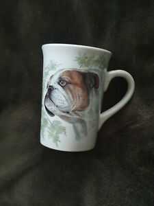 English Bulldog Head Profile with Floral Design Coffee Mug - NEW - MUST L@@K!