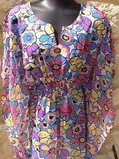 Tunique robe haut plage kaftan caftan S M rose blanc noir turquoise bleu jaune