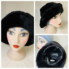 Ladies Black Faux Fur Hat Winter Warm Smart Brim Worn Up Or Down Lined Elegant