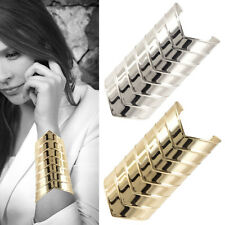 Wonder Woman Fashion Wide Metal Sleek steel cuff Tube Chevron Bangle Bracelet 5""