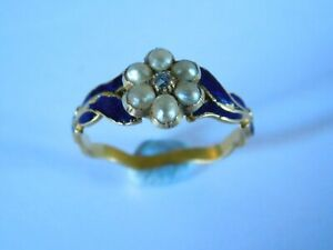 GEORGIAN ANTIQUE 18ct GOLD PEARL & DIAMOND RING - BLUE ENAMEL with  SHANK DESIGN