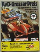 GERMAN GRAND PRIX FORMULA ONE F1 1982 HOCKENHEIM Official Programme