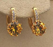 18K Gold Filled - 9mm Round Citrine Topaz Flower Zircon Hoop Women Earrings DS
