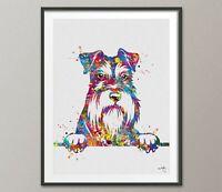 Schnauzer Portrait  Watercolor Print Poster Nursery Pet Gift Dog Love Puppy-1437