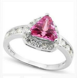 1.1 CARAT TW CREATED PINK SAPPHIRE & WHITE SAPPHIRE PLATINUM OVER 0.925 RING