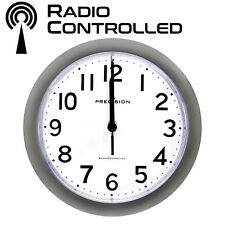 PRECISION SILVER RADIO CONTROLLED WALL CLOCK PREC0060 23CM DIAMETER ANALOGUE NEW