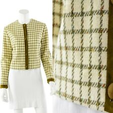 60s Vintage Country Set Plaid Wool & Leather Cropped Blazer Womens M Ivory Olive