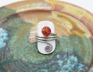 Carneol Ring 925 Silber orange rot Karneol Kugel Silberring Spirale keltisch