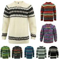 Wool Knit Jumper Sweater Pullover Fairisle Nordic Abstract Warm Nepal Loose