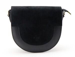 BLACK leather SHOULDER BAG Italian ladies women's suede handbag crossbody BAG