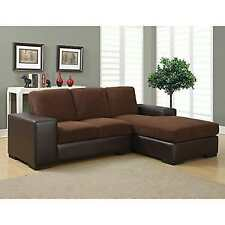 Monarch Specialties Cushioned Leather Look Sofa Lounger Dark Brown I 8200bb