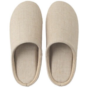 MUJI Linen Twill Cushion Slippers unisex room shoes w/tracking