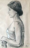 LUDWIG SCHWERIN , Charcoal and Pastel  on Paper, Elegant Lady,  Signed, 1938 !!