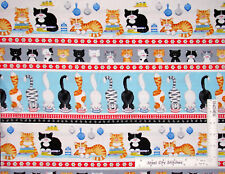 Kitty Cat Meow Animal Cute Pet Stripe Cotton Fabric HG&Co Cat's Meow By The Yard