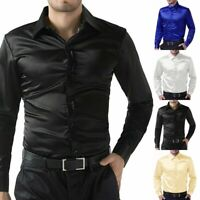 Men's Shirt Faux Silk Satin Glossy Tops Long Sleeve Button Front Slim Fit Blouse