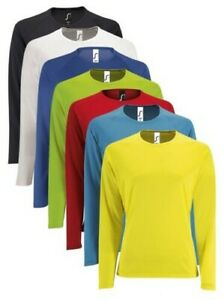 Femmes Sporty Manches Longues Performance Respirant Slim Fit T-Shirt
