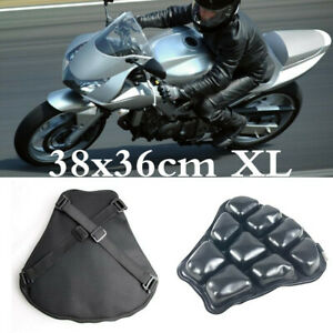 Black 38x36cm Motorcycle Airbag Seat Cushion Pad Breathable Accessories & Pump