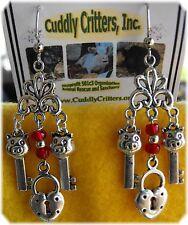 Tibetan Silver Pig Key & Lock Red Dangle Earrings Made in the USA  - boar/hog/