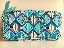 Vera Bradley GO FISH BLUE COSMETIC Travel Case Medium Bag