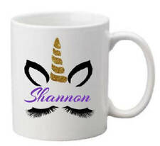 Personalised your name print Unicorn mug gift idea kids ladies eyelashes cute