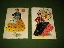 (2) Tarjeta Embroidered Post Cards , Well dressed ladies,  Printed in Spain